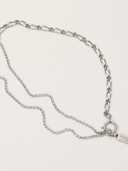 White K [two bracelets and necklaces] Brass Cubic Zirconia Geometric Chain Hip Hop Multi Strand Necklace